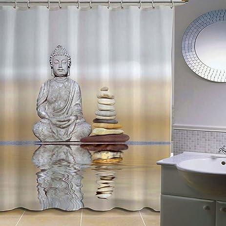 Raza 180cm 3D Buddha Shower Curtain Bathroom Waterproof Fabric Polyester Home