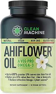 Ahiflower Oil - Award Winning Vegan Omega 3 - Plant Based Omega 4X Better Than Flax, Chia & Hemp - 90 Vegan softgels