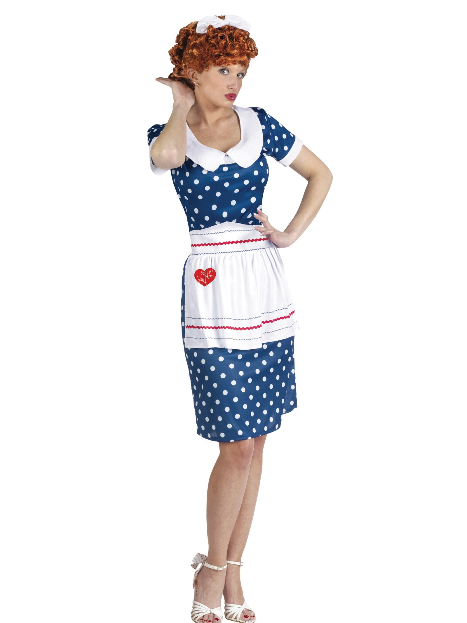 I Love Lucy Costume Blue Polka Dot Dress Apron and Wig Women Theatrical Costume Sizes: Medium-Large