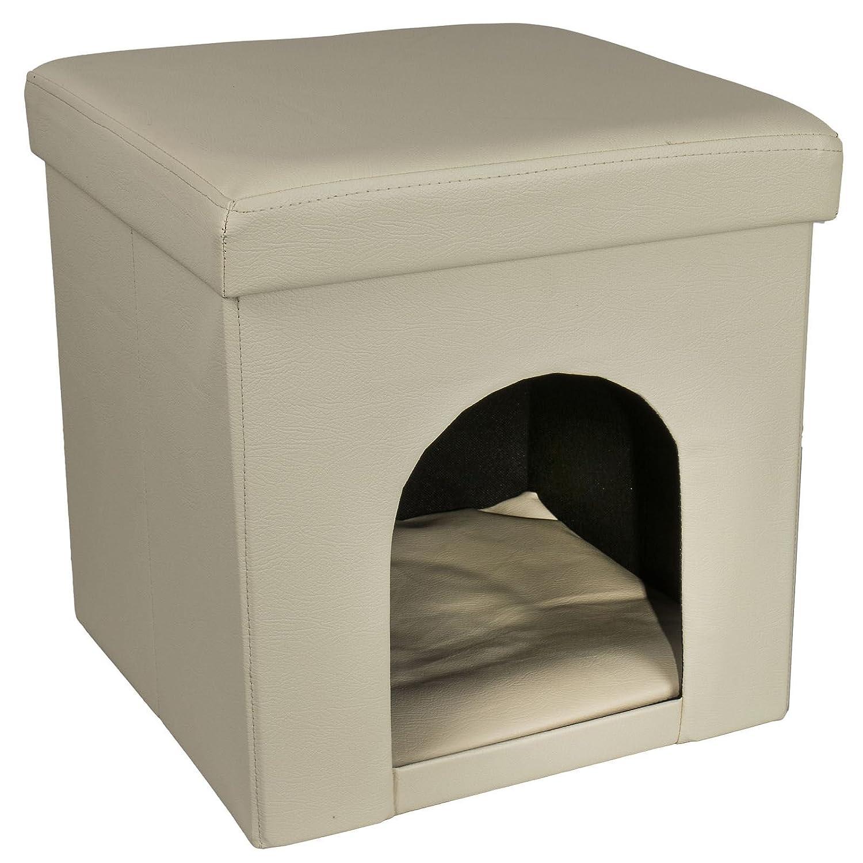 Otomana mascota Hideaway perro gato casa suave acogedor cómoda cama plegables, 38 x 38 x 38 cm Taburete de PVC Duradero elegante funda de piel con tapa arco ...