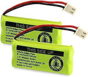 Kruta BT183342 BT283342 BT166342 BT266342 BT162342 BT262342 Battery Compatible with VTech CS6114 CS6419 CS6719 AT&T EL52300 CL80112 VTech CS6719-2 Cordless Handsets (Pack of 2)
