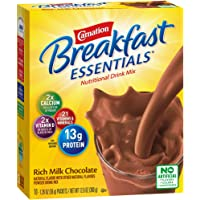 Carnation Breakfast Essentials Powder Drink Mix, Rich Milk Chocolate, 10 Count Box of 1.26 Ounce Packets (Packaging May Vary)