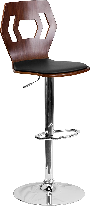 Flash Furniture Walnut Adjustable Height Barstool with Designer Cutout Back and Black Vinyl Seat