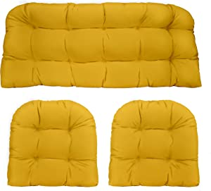 RSH Décor Indoor Outdoor 3 Piece Tufted Wicker Settee Cushions 1 Loveseat & 2 U-Shape Weather Resistant ~ Choose Color (Yellow, 2- 19