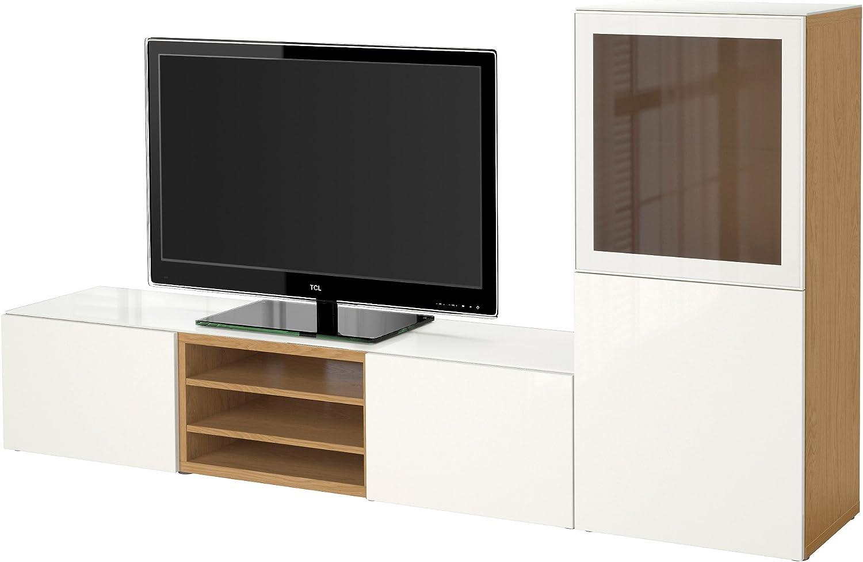 IKEA BESTA - TV por efecto de almacenamiento de combinación / puertas de vidrio Roble / selsviken alto brillo / blanco de vidrio esmerilado: Amazon.es: Hogar