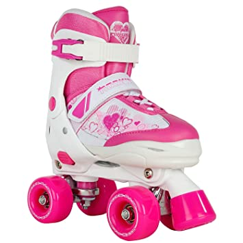 Rookie Adjustable Pulse Junior SML 8-11 Patines con 4 Ruedas, Niñas, Rosa