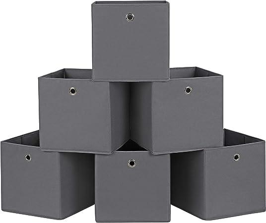 Songmics RFB02G-3 - Caja de almacenamiento, gris, 30 x 30 x 30 cm, 6 unidades: Amazon.es: Hogar