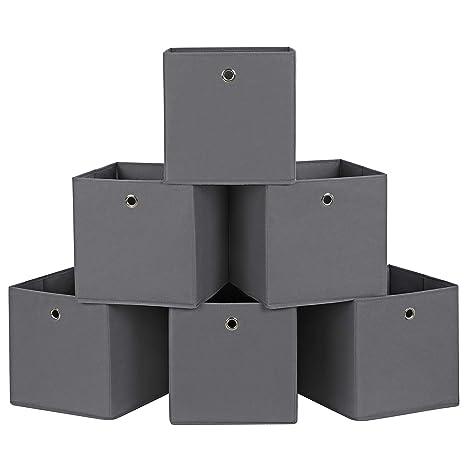 SONGMICS Juego de 6 Cajas de almacenaje Cubos de Tela Plegable 30 x 30 x 30
