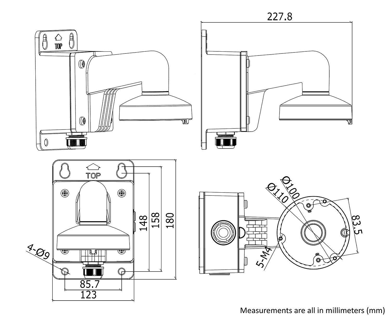WMS WML PC110B DS-1272ZJ-110B Wall Mount Bracket for Hikvision Dome Camera DS-2CD2142FWD-I (8 Pack) by HAWK EYE SURVEILLANCE (Image #7)