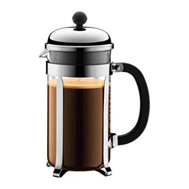 Bodum Chambord French Press Coffee Maker, 1 Liter, 34 Ounce, (8 Cup), Matte Chrome