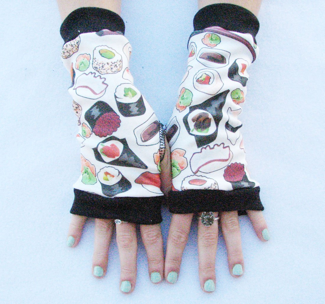 Sushi fingerless gloves Japanese Chopsticks