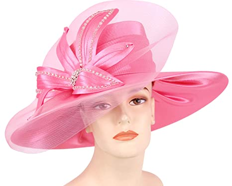 c1ba09a040eb17 Ms Divine Women's Satin Year-Round Dress Church Hats, Derby Hats - HL92  (Hot Pink) at Amazon Women's Clothing store:
