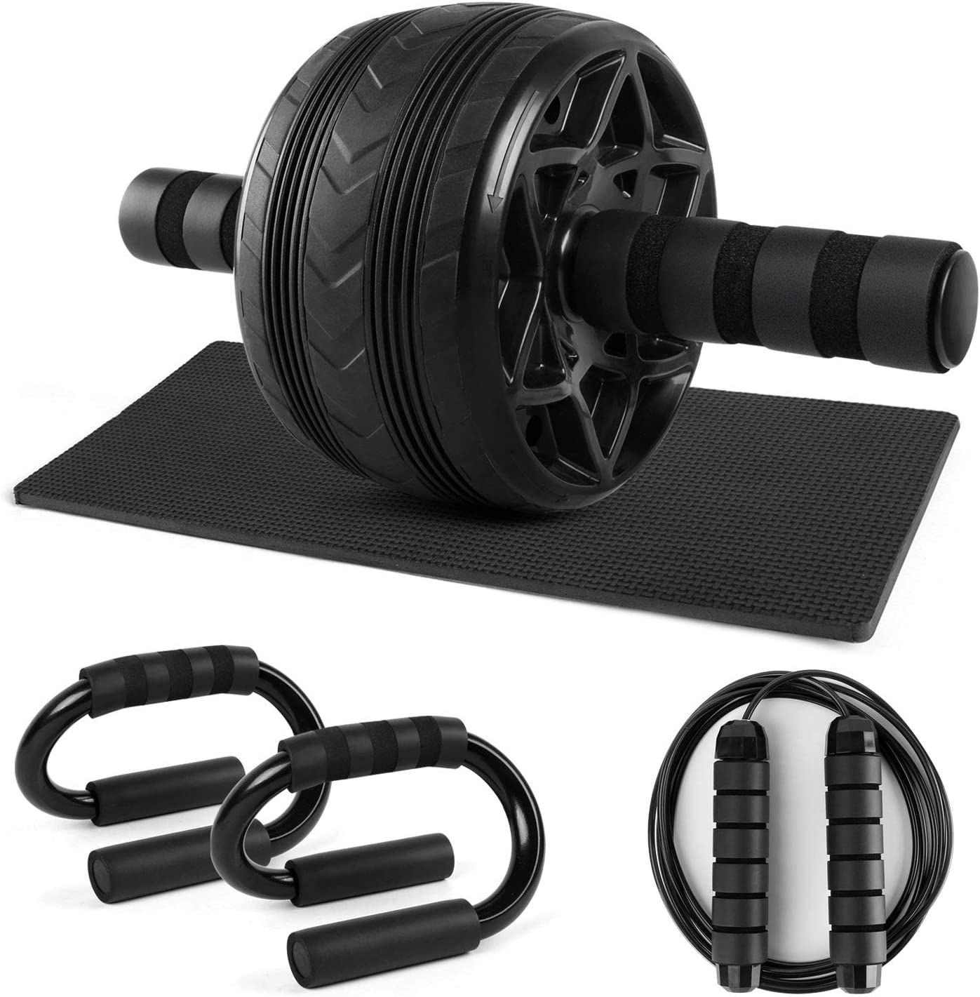 Core Workout Equipment for Home Gym Strength Training and Abdominal Exercise Durable Jump Rope Odoland 4-in-1 Large Size Ab Roller Wheel Set with S Shaped Push Up Bars Non Slip Knee Pad