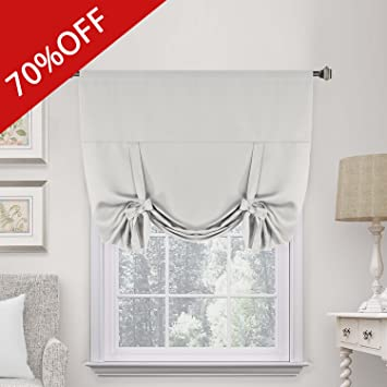 Greyish White Room Darkening Curtain Panels Window Treatment Thermal Insulated Rod Pocket Functional Adjustable Tie Up