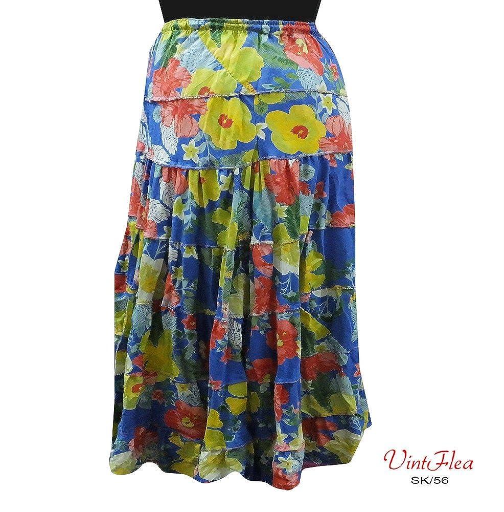 cubre vestido maxi ropa indio floral falda impresa azul de la ...