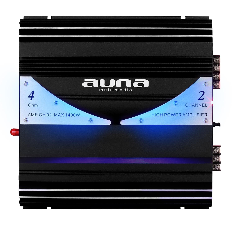Auna AMP-CH06 Amplificador Coche • 6 Canales • 570 W RMS • Sonido HiFi • 5000 W • iluminación LED Azul • Entradas RCA • Material de Montaje • Negro AMP-CH-aadx