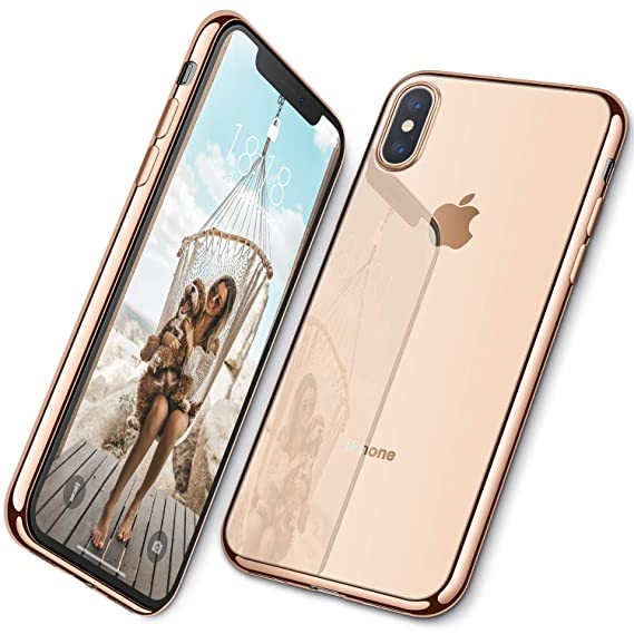 online store fc58e 55cc9 DTTO iPhone Xs Max Case, Ultra Slim Soft TPU Crystal Clear Case Cover for  Apple iPhone Xs Max 6.5 Inch (2018 Released) with Reinforced Electroplate  ...