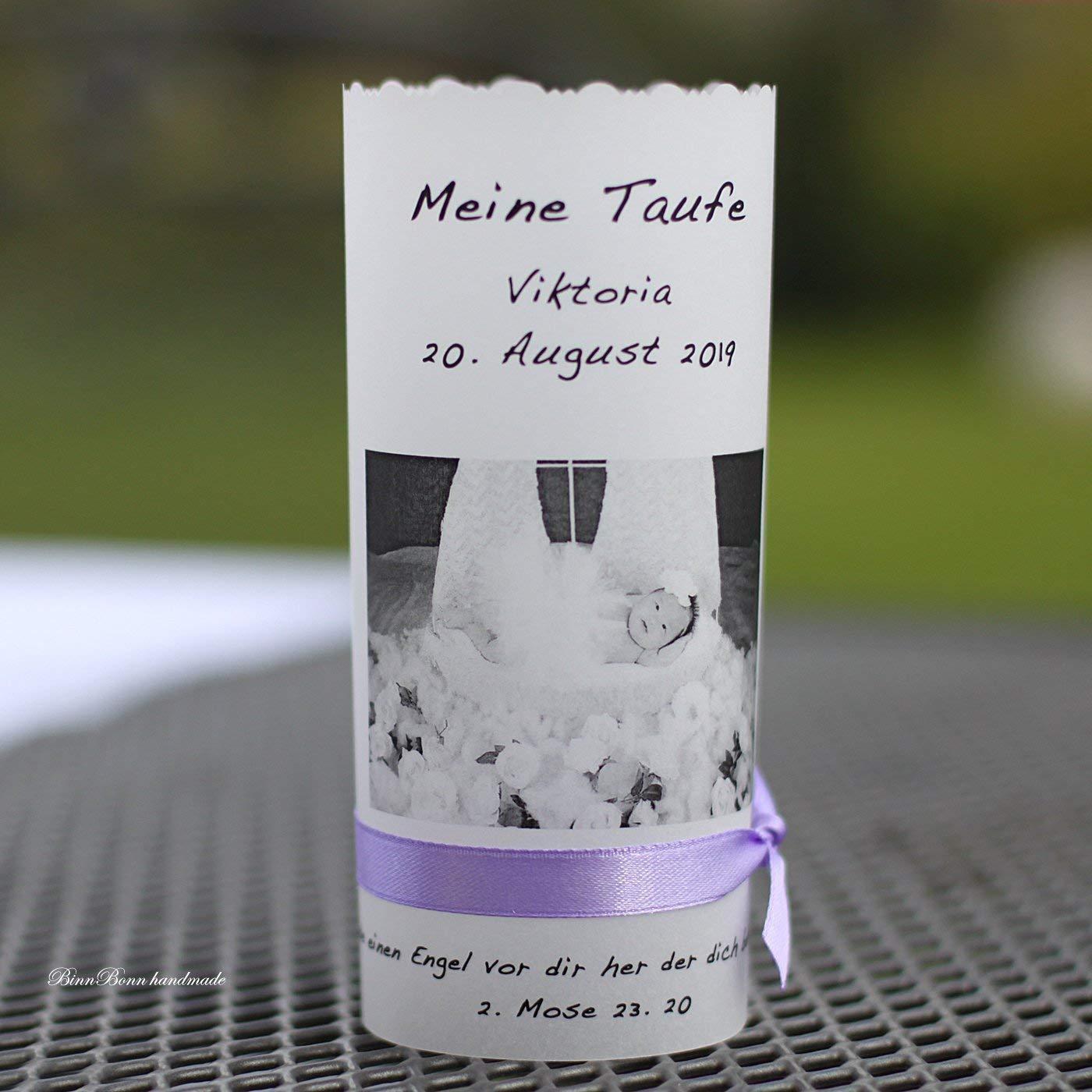 8 personalisierte Lichthüllen Teelichthüllen für Tischlicht Windlichter Tischdeko mit Foto Taufe Kommunion Konfirmation grau Handarbeit binnbonn