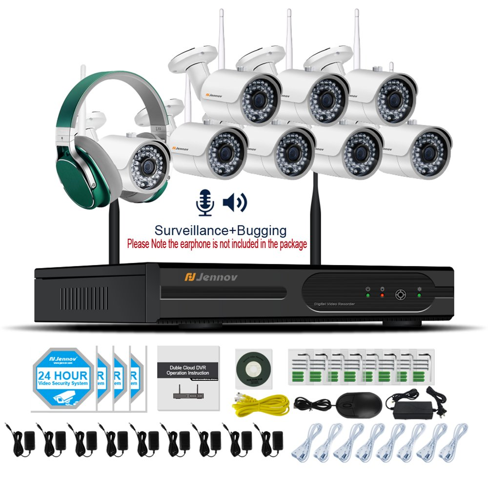 Jennov 8 Channel CCTV Wireless Bullet Security IP Camera System 1080p Full HD NVR Waterproof Home Business Remote Access Monitor White Wifi Surveillance Cameras With Audio Recording (No Hard Drive)
