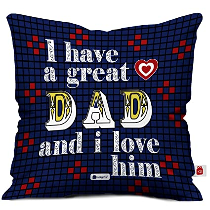 Indigifts Dad Birthday Gifts I Love Unique Cushion Cover 12x12 Inches With Filler Blue