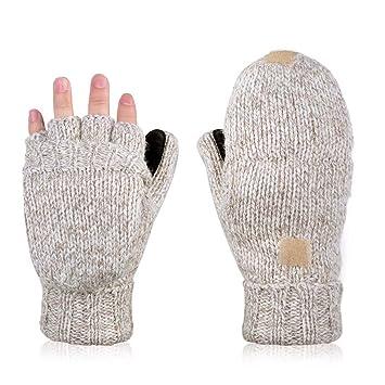 782ece047aea84 AOKAY Winter Handschuhe Fingerlose Fäustlinge Damen Fingerhandschuhe Fingerlos  Handschuhe Strick Handschuhe mit Flip Top (Vintage