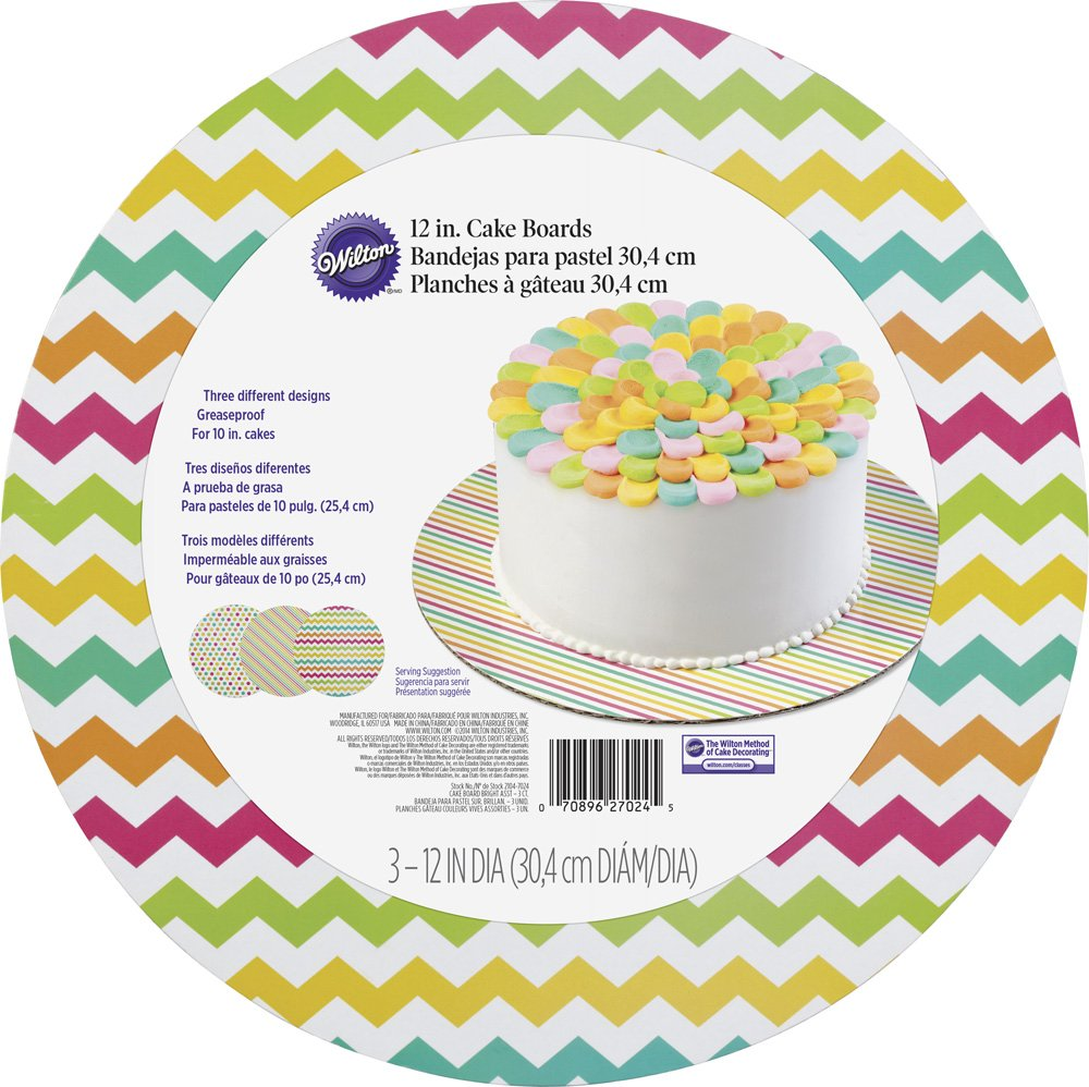 Amazon.com: Wilton 2104-7024 3 Count Brights Round Cake Board Set, Assorted: Kitchen & Dining