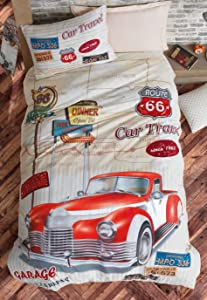 OZINCI 100% Cotton Cars Bedding Set, Vintage Car Themed Single/Twin Size Quilt/Duvet Cover Set with Fitted Sheet, Beige, Kids Bedroom (3 Pieces)