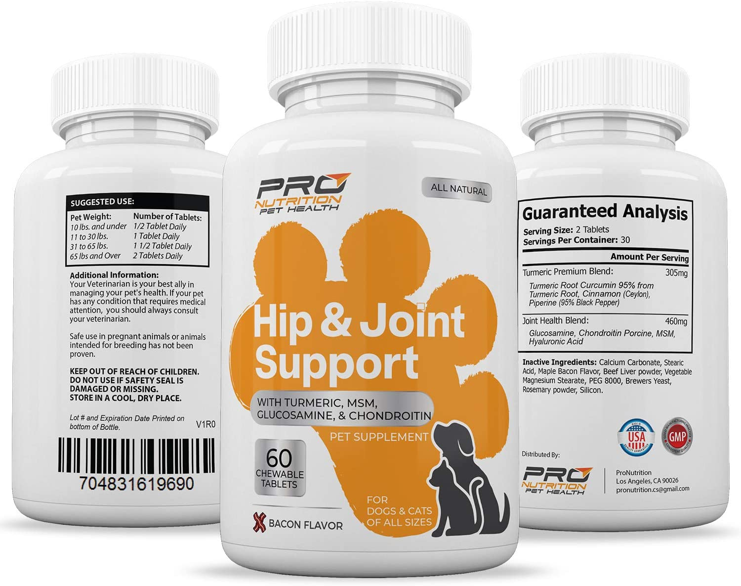 Hip & Joint Supplement- Improves Mobility, Joint Flexibility, & Arthritis Pain Relief. Powerful Ingredients Turmeric, Chondroitin, Glucosamine & MSM. Soft Chewable Bacon Flavor Tablet for Dogs & Cats.