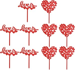VIDELLY 10 Pieces Love Cupcake Toppers Picks Red Valentine Day Cake Topper Acrylic love Decoration Cake Toppers Red Dessert Food Cake Picks for Wedding Engagement Bridal Shower Party Cake Décor,2Style
