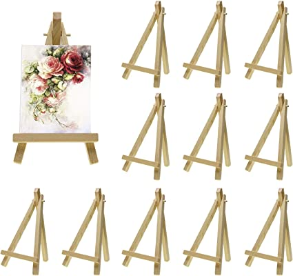 Craft Drawing Tabletop Holder Stand for Painting Party Art Decoration Photos MEEDEN 4 by 4 Inch Stretched Canvas /& 3 by 5 Inch Pine Wood Easel Set of 12 Signs