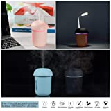 Ultrasonic Cool Mist Humidifier with Quiet USB Desk Fan and LED Desk Lamp for Bedroom/Kids/Office/baby/Gift Rechargeable Portable Car Humidifier Diffuser Mini Air Humidifier