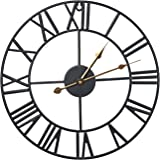 """Sorbus Wall Clock, 16"""" Round Oversized Centurian Roman Numeral Style Home Décor Analog Black Metal Clock, Gold Hands…"""