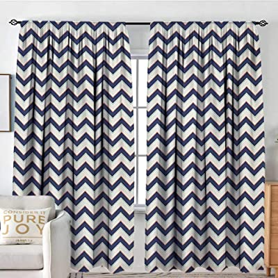 "NUOMANAN Customized Curtains Zig Zag,Geometric Retro Stylized Pattern with Funk Art Effects Featured Details Graphic,Multicolor,Wide Blackout Curtains, Keep Warm Draperies, Set of 2 84""x100"": Home & Kitchen"
