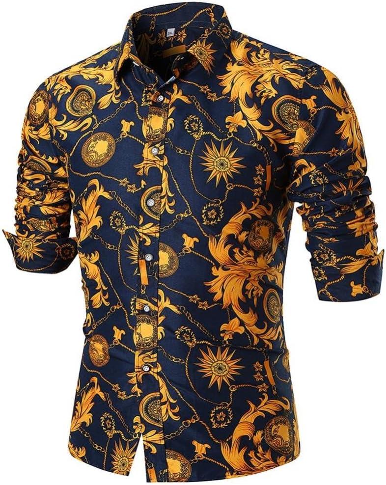 LuckyGirls Camisetas Hombre Verano Negocio Camisa Manga Larga Estampado de la Flor Dorada Originales Casuales Polos Slim Remera (2XL, Multicolor): Amazon.es: Deportes y aire libre