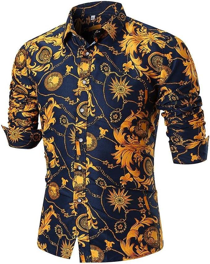 LuckyGirls Camisetas Hombre Verano Negocio Camisa Manga Larga Estampado de la Flor Dorada Originales Casuales Polos Slim Remera (M, Multicolor): Amazon.es: Deportes y aire libre