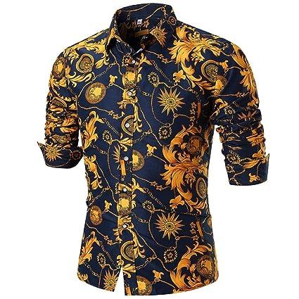 85a7177048 LuckyGirls Camisetas Hombre Verano Negocio Camisa Manga Larga Estampado de  la Flor Dorada Originales Casuales Polos