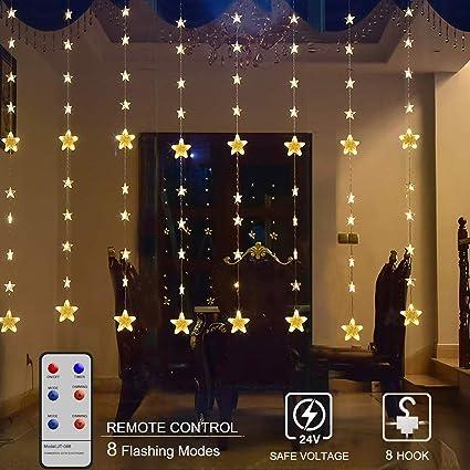 Amazon.com: Luz de cortina de estrellas, luz LED para ...