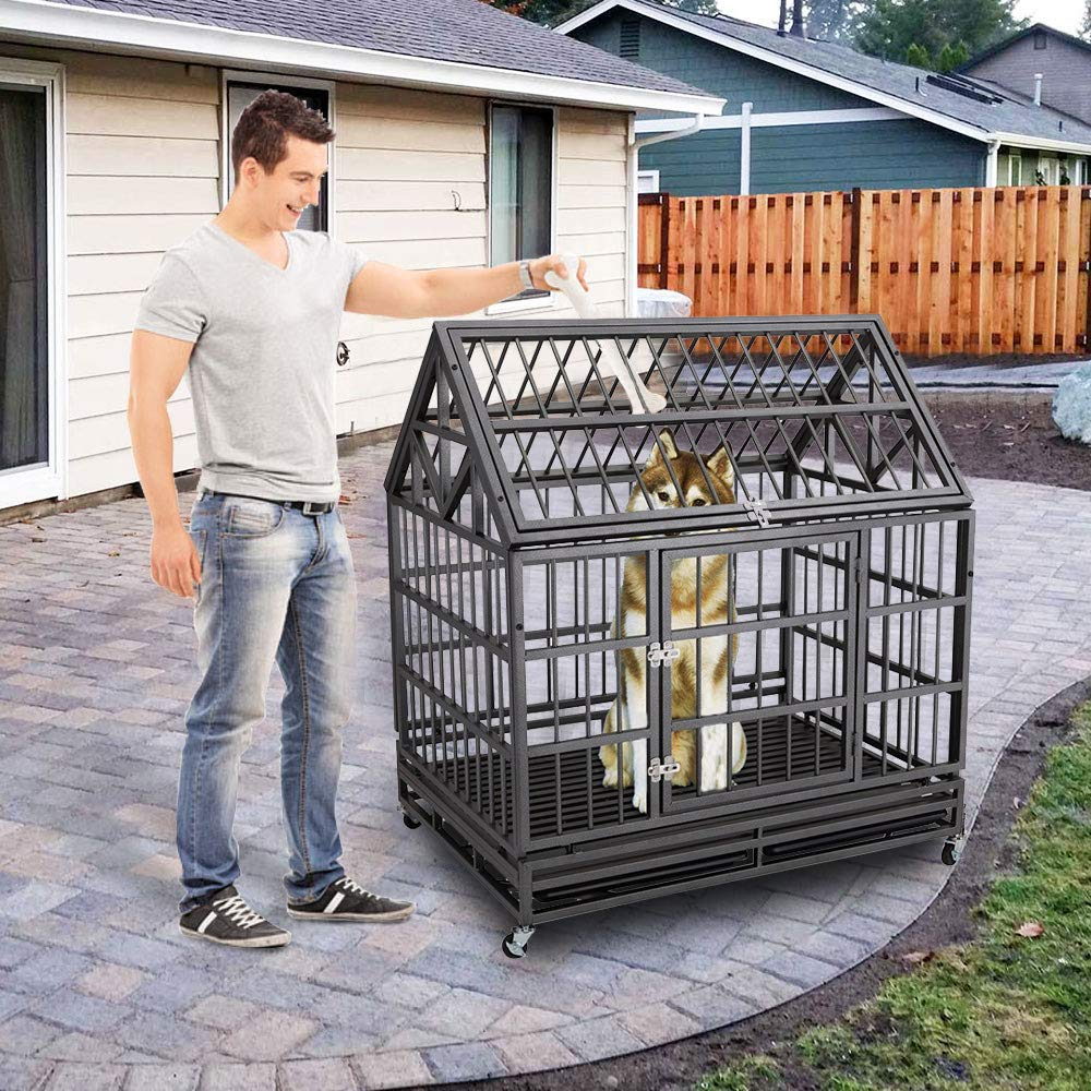 Haige Pet Your Pet Nanny Heavy Duty Dog Crate Cage Kennel Strong Metal for Large Dogs, Easy to Assemble Pet Playpen with Patent Lock & Four Wheels by Haige Pet Your Pet Nanny (Image #5)