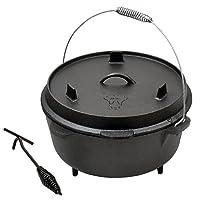 BBQ-Toro Gusstopf DO12 Dutch Oven schwarz Gusseisen klein Camping Garten Picknick ✔ rund
