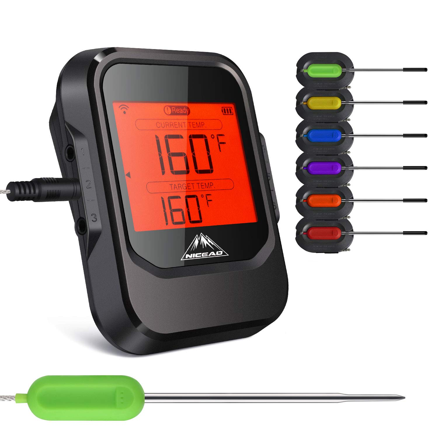 NICEAO Wireless Meat Thermometer, Digital Cooking Thermometer with 6 Stainless Steel Step-Down Probe Bluetooth BBQ Thermometer with App Control Alarm Monitor for Grill Smoker, Kitchen Cooking Oven Madisun