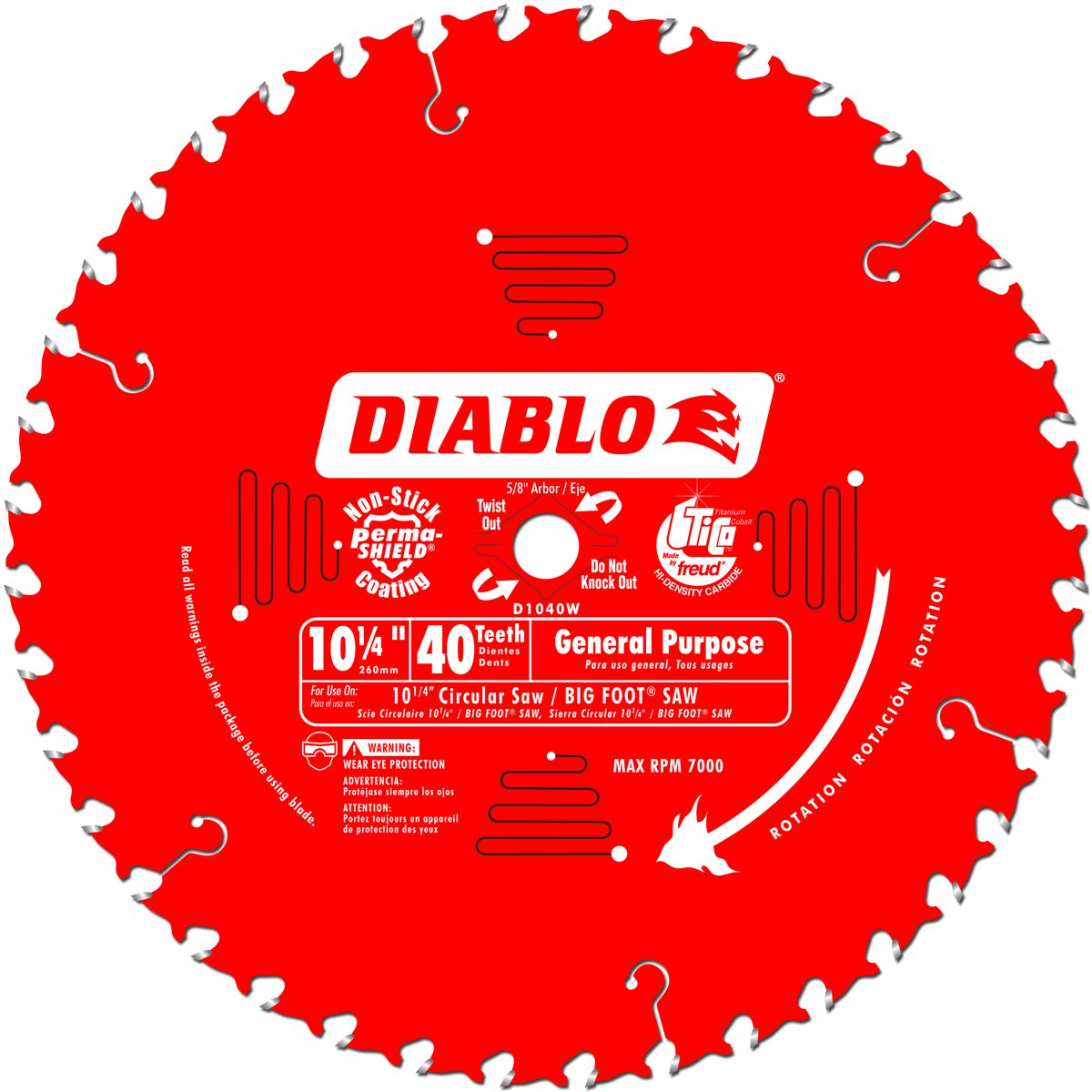 Freud D1040W Diablo 10-1/4-Inch 40 Tooth ATB General Purpose Saw Blade with 5/8-Inch and Diamond Knockout Arbor, Multi