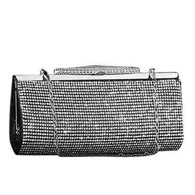 High Quality Sparkly Real Crystal Clutch Bag Purse Ladies Evening Party Bridal