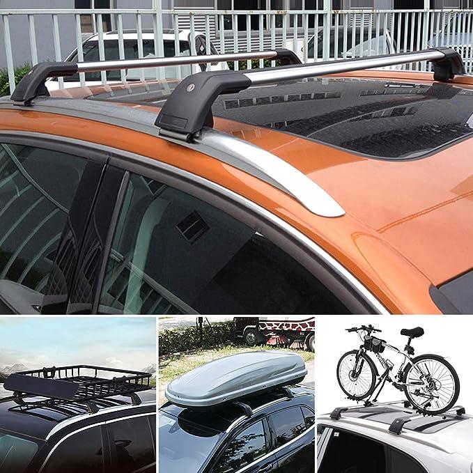 MotorFansClub Roof Cargo Bars Baggage Top Roof Rail Crossbars Luggage Ladder Bike Load Roof for Hyundai Santa Fe 2013 2014 2015 2016 2017 2018 US Stock