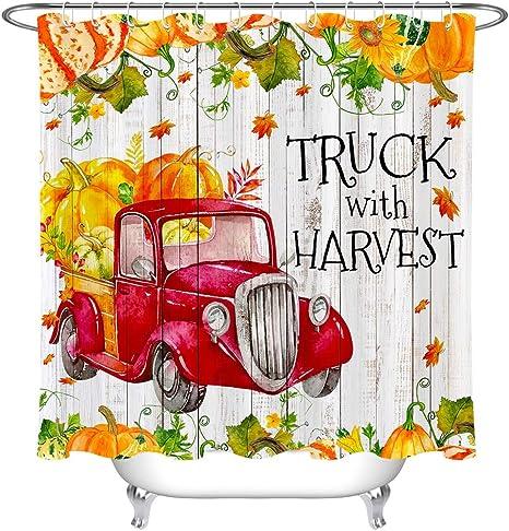 Autumn Farmhouse Sunflower Pumpkins Maple Waterproof Fabric Shower Curtain Set