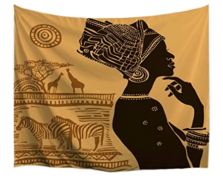 A.Monamour Marrón Fondo Tradicional Africano Mujer Tribal Tatuaje ...