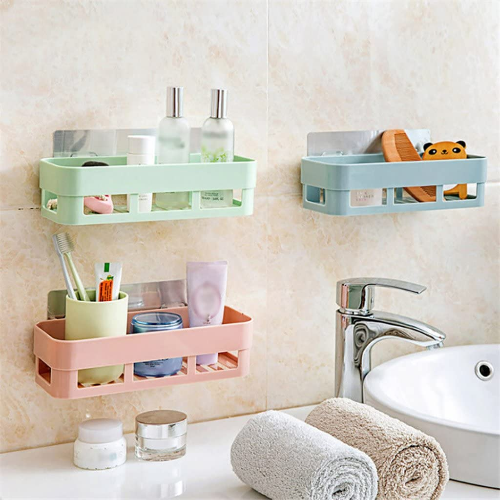 Color : Blue Storage Organizer Free Punching Bathroom Storage Box Bathroom Kitchen Bathroom Dining 21.811.28.5cm Creative Bathroom Shelf