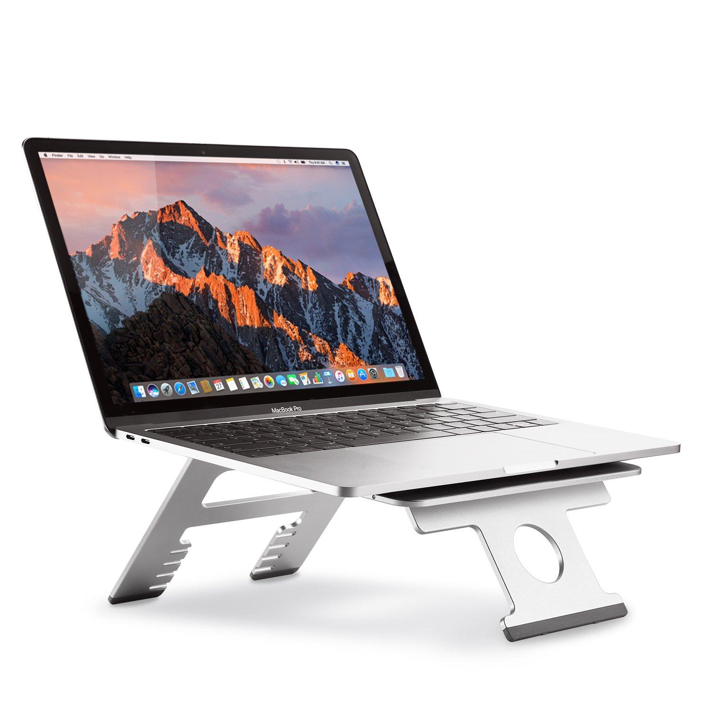 Nllano Supporto per laptop pieghevole in alluminio, supporto portatile per notebook ergonomico di raffreddamento, supporto per supporto regolabile per MacBook 10 -15.6, Acer, Asus, Dell, HP, Lenovo, Toshiba. LJN-ZJ002
