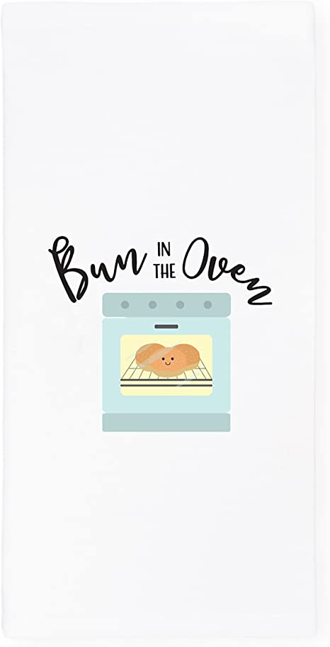 Amazon Com The Cotton Canvas Co Bun In The Oven Soft And Absorbent Kitchen Tea Towel Flour Sack Towel Dish Cloth 1 Count Home Kitchen