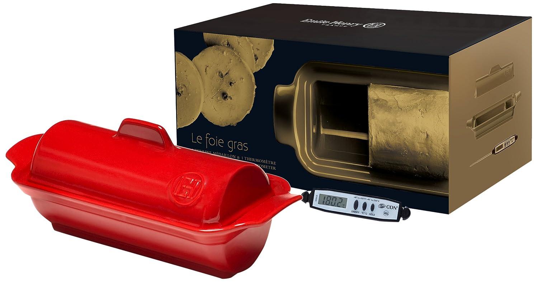 C/éramique Rouge Grand Cru 23,5 X 10,5 X 9 cm Emile Henry Eh349765 Coffret Terrine /à Foie Gras M/édaillon Avec Thermom/ètre