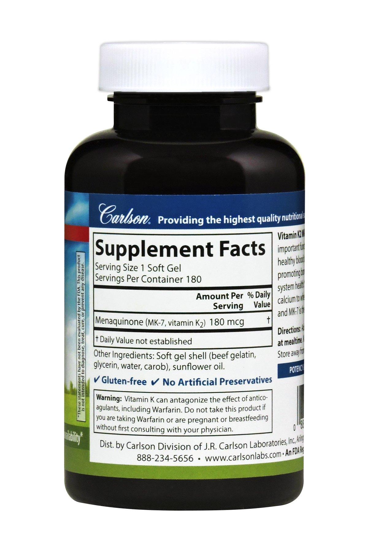 Carlson Vitamin K2 as MK-7 180 mcg, Bone & Heart Health, 180 Soft Gels by Carlson (Image #2)
